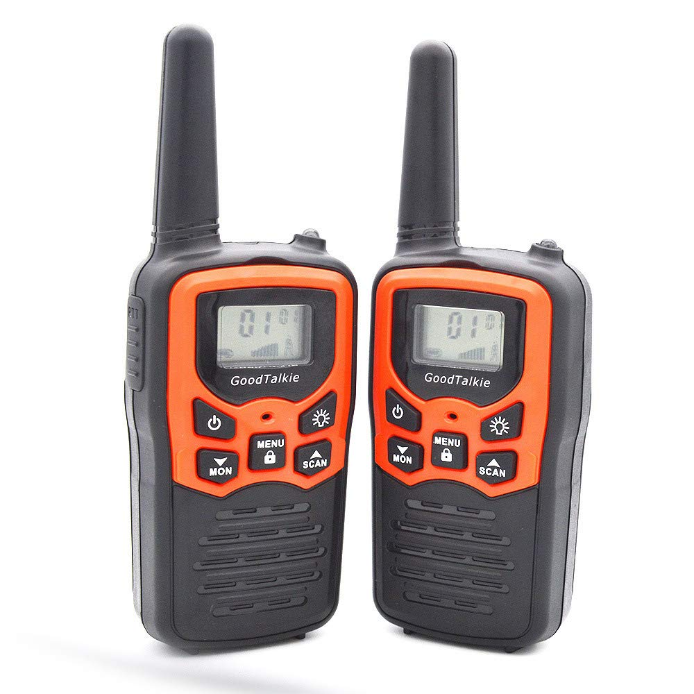 H&T Mini Portable Walkie Talkies, (2 Pack) Handheld Long Distance 2 Way Radio with Built-in LED Flashlight 16-Channel for Hotel Restaurants etc