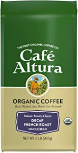 Cafe Altura Whole Bean Organic Coffee, French Roast Decaf, 2 Pound (3324)