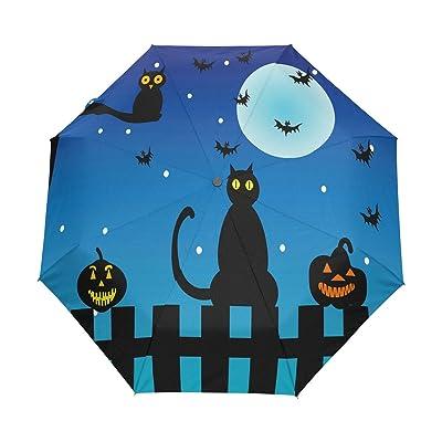 ALAZA Black Cat Bat Halloween Owl 3 Folds Auto Open Close Anti-UV Umbrella