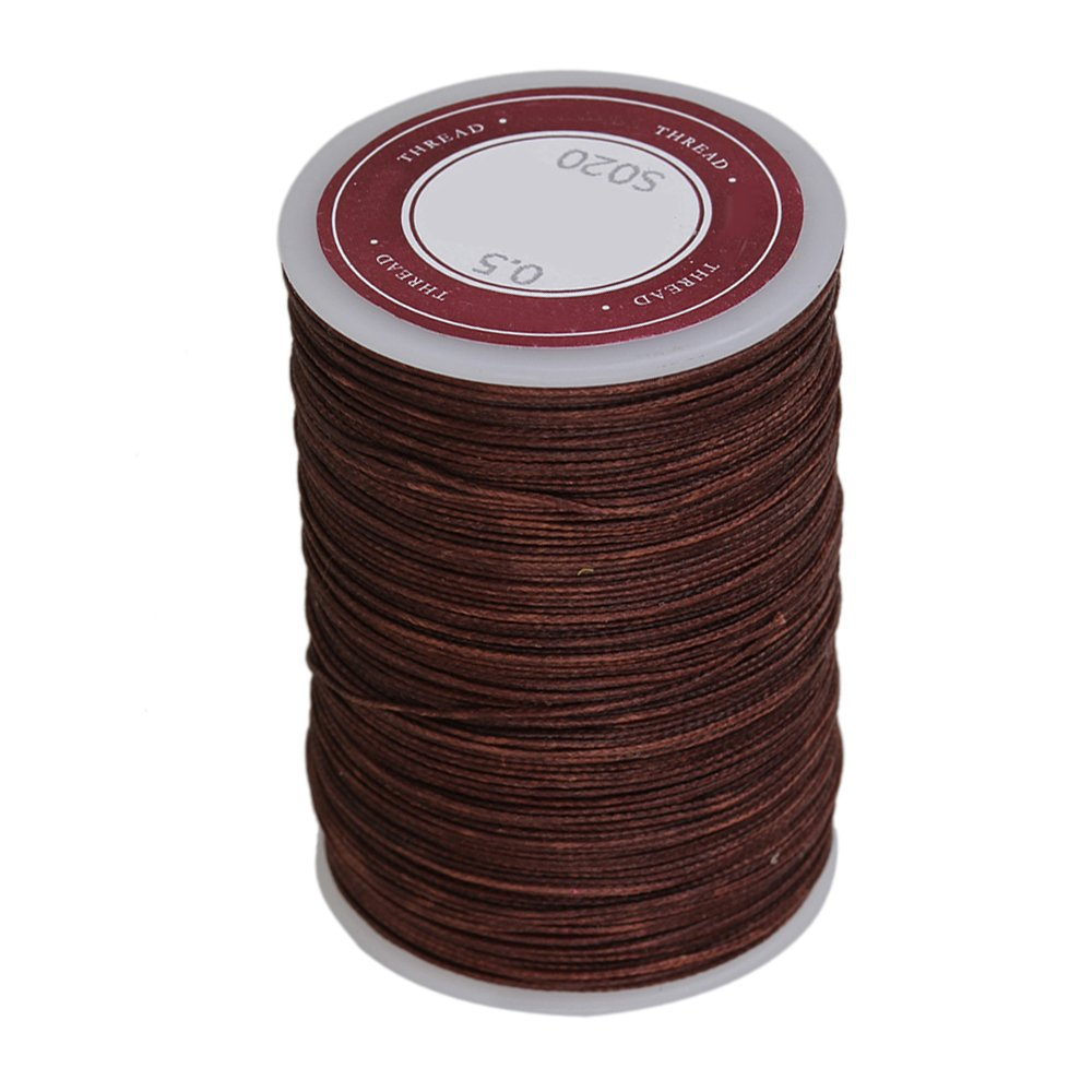 WEONE Brown 0.5mm 120M Waxed Polyester Round Braided Thread Cord DIY Macrame String JS-11415352