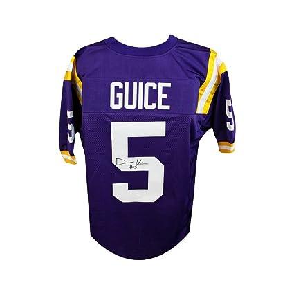 404f979f7 Derrius Guice Autographed LSU Tigers Custom Purple Football Jersey ...