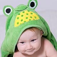 Orgánico Bebé Toalla con capucha 100% con certificado, 0–2años de edad, tamaño 75cm x 95cm, 450g/m² de rizo, poco rana, color verde