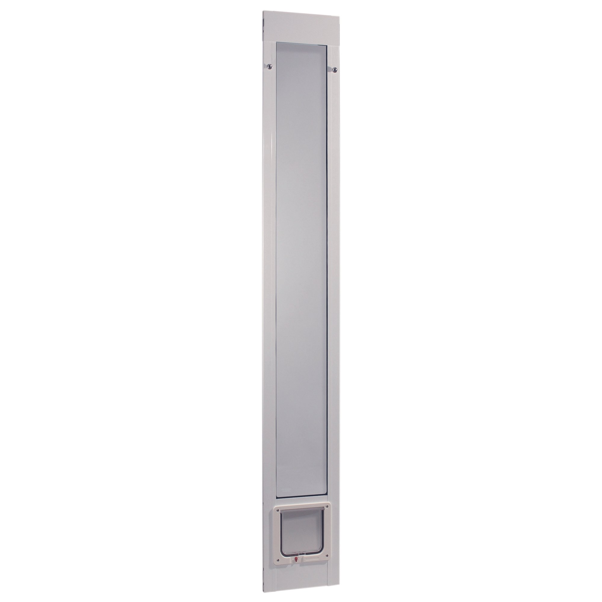 Ideal Pet Products 96PATCFW 96'' Fast Fit Aluminum Pet Patio Door with Flap Mill, Small/6.25'' x 6.25'', White