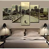 Ughjb Wandaufkleber 3d Hd Printed Canvas Painting Home Wall Art Photo Decor 5 Panels Movie Walking Dead Landscape Poster For Living Room