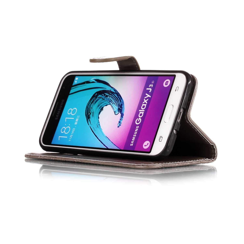 The Grafu/® Custodia in PU Pelle con Silicone Morbido Guscio Interno Magnetica Cover con Cinturino da Polso per Samsung Galaxy J3 2016 Cover Galaxy J3 2016 Grigio #1
