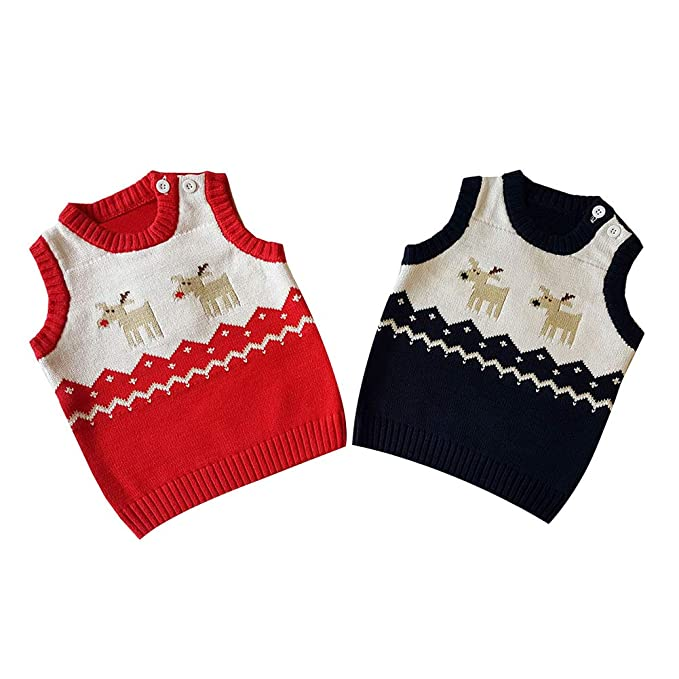 2127ff30ecce Amazon.com  Baby Xmas Sweater Toddler Unisex Baby Button-up Cotton ...