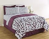 Purple & Lavender Vines & Leaves Nature Full Comforter Set (8 Piece Bed In A Bag)
