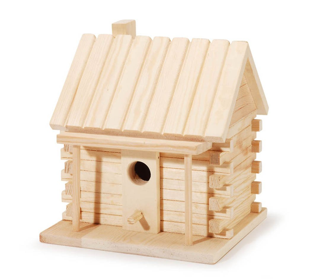 Darice Natural Wood Log Cabin Birdhouse, 7.2 inches
