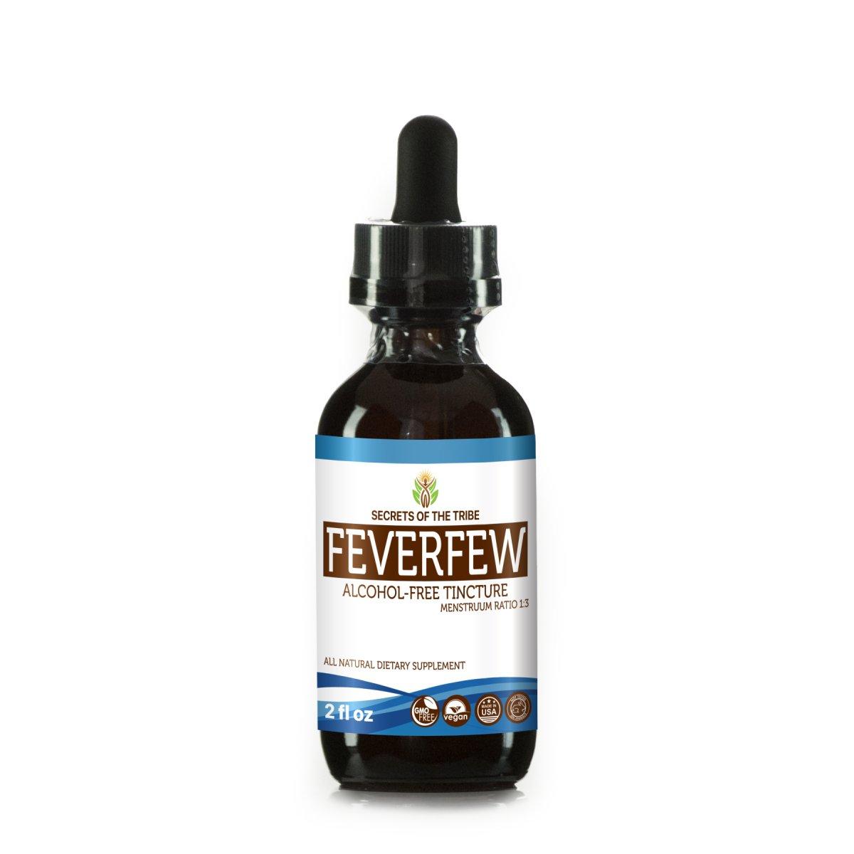 Feverfew Tincture Alcohol-Free Liquid Extract, Organic Feverfew (Tanacetum parthenium) Dried Herb (2 FL OZ)