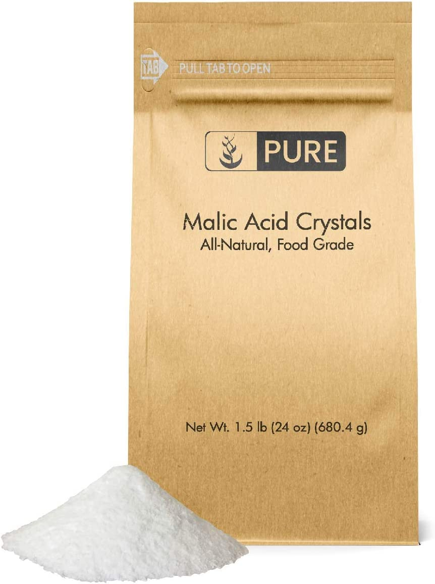 Pure Malic Acid Powder (1.5 lbs) (600 Serving), Boost Energy Production*, Alpha Hydroxy Acid, Help with Muscle Pain & Soreness*, Rejuvenate Skin*