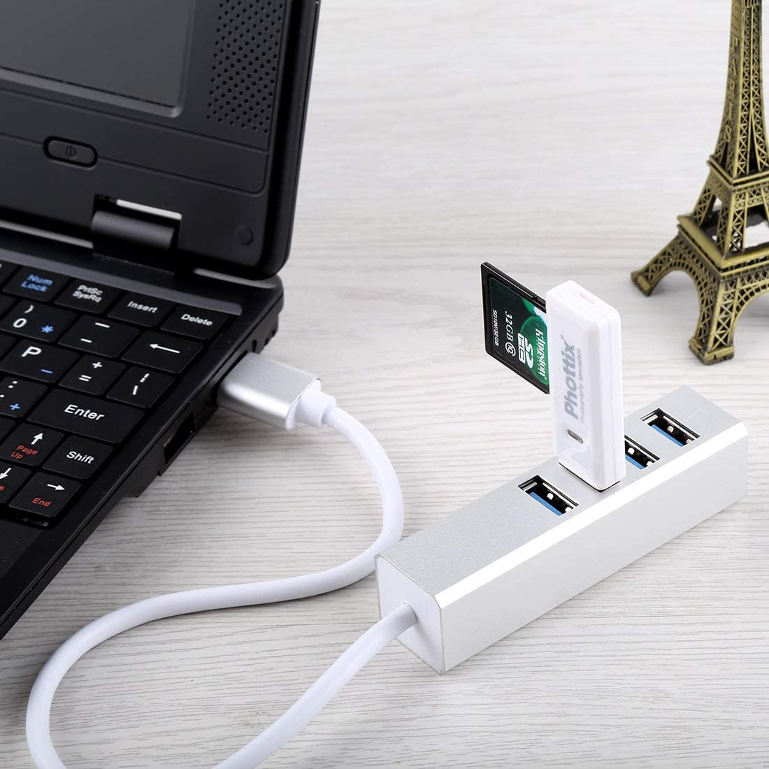 Leya Networking Products 5Gbps Super Speed Self//Bus Power 4 Ports USB 3.0 HUB Color : Silver Silver