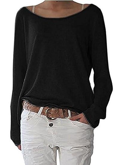 DouYuLike Mujer Camisas Casual Colores Lisos Camisetas Remata Jerséis Blouses Suelta Cuello Barco Manga Larga T