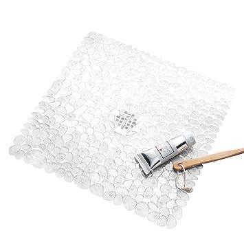 interdesign pebblz nonslip suction bath mat u2013 square mat for shower or tub