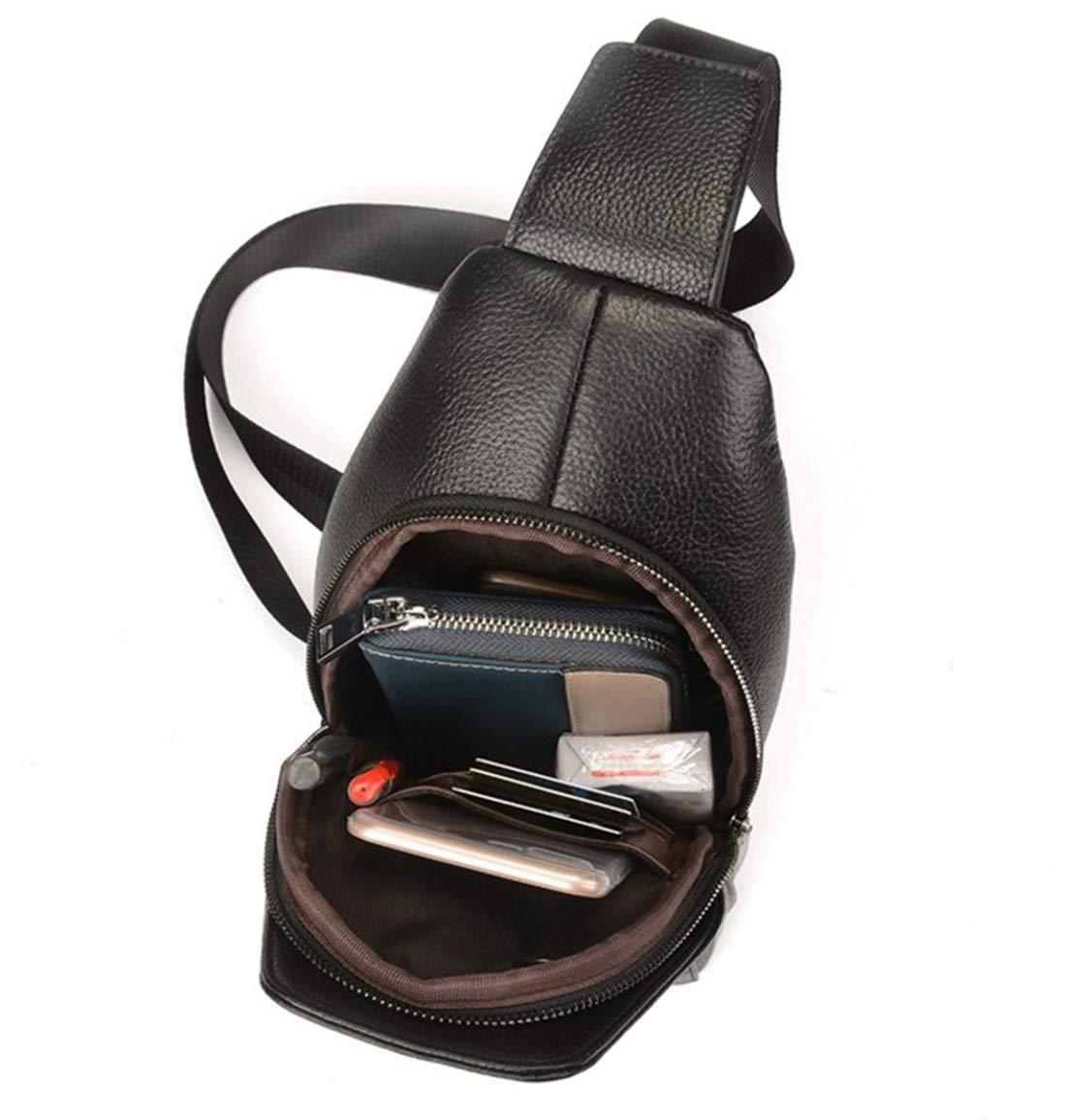 Color : Black RABILTY Mens Chest Bag Sling Backpack Leather Deer Printed Shoulder Bag Crossbody Bag