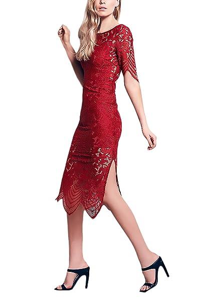 Vestidos Mujer Fiesta Cortos Elegantes Encaje De Manga Corta Cuello Redondo Slim Fit Vestidos Años 20