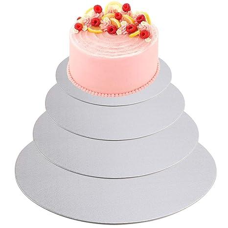 NACTECH 4 piezas Cake Board Bases de Cartón Redondas para Tarta de Pisos Pasteles Fondant Tarta