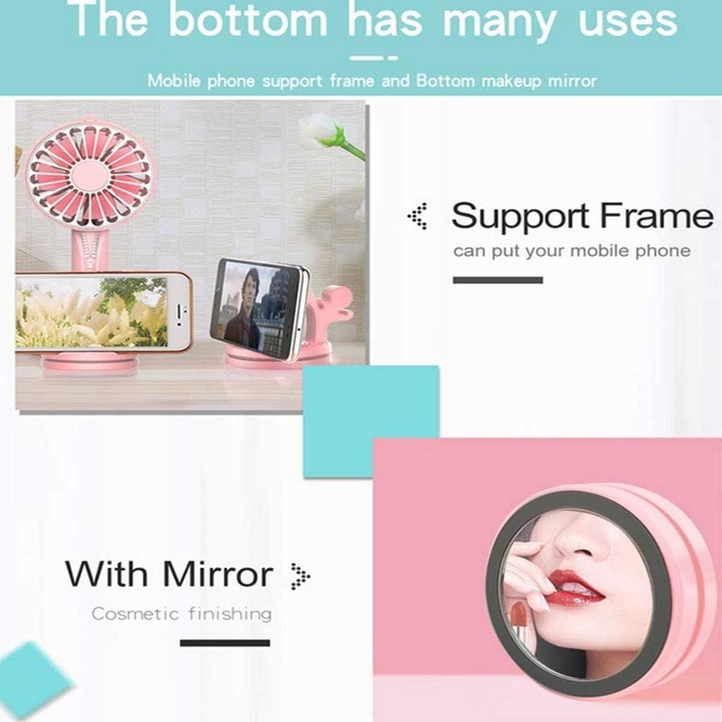 Handheld Outdoor Vanity Mirror Fan-b Multi-Function Zipper Fan USB Charging Fan
