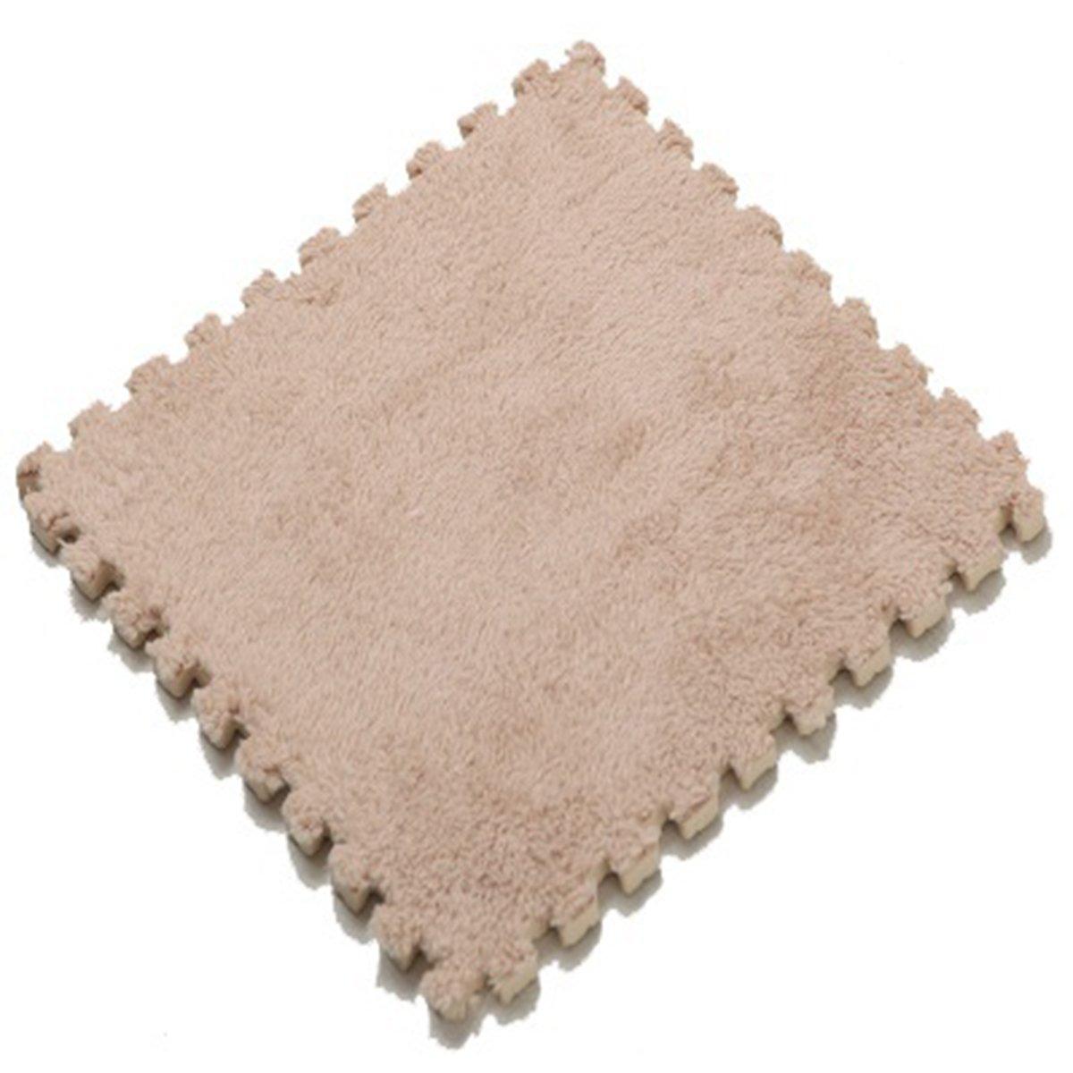Furry Plush Eva Foam Anti-slip & Durable Carpet Rug Soft Cushion Mats - Set of 9 Tiles(12x12 inches)-Ideal for Nursery Decor,Playroom & Kids Baby Room (Light brown)