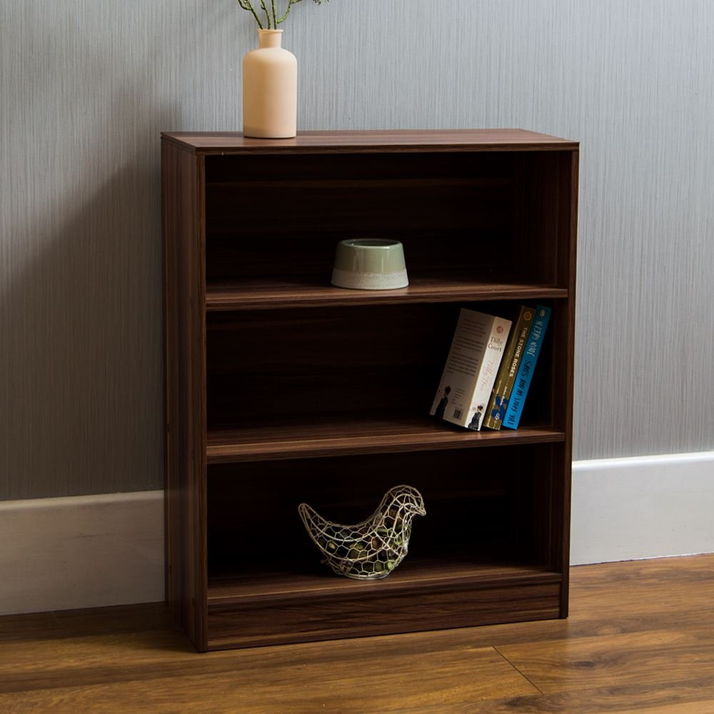 Home Discount Cambridge 3 Tier Low Bookcase, Walnut Wooden Shelving Display Storage Unit Office Living Room Furniture
