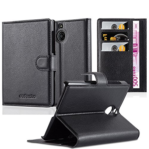 Cadorabo Book Case Works with BlackBerry Passport Silver Edition in Oxid Black - with Magnetic Closure, Stand Function and Card Slot - Wallet Etui Cover Pouch PU Leather Flip