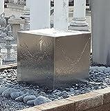 garten-wohnambiente Quader Würfel 40/40/40 cm Edelstahl matt gebürstet Komplettset Wasserspiel Springbrunnen