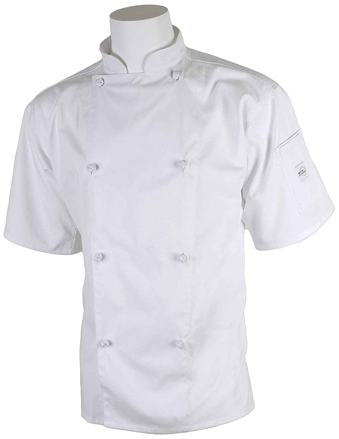 Mercer Culinary M61022WHS Genesis Unisex Short Sleeve Chef Jacket with Cloth Knot Buttons, Small, White