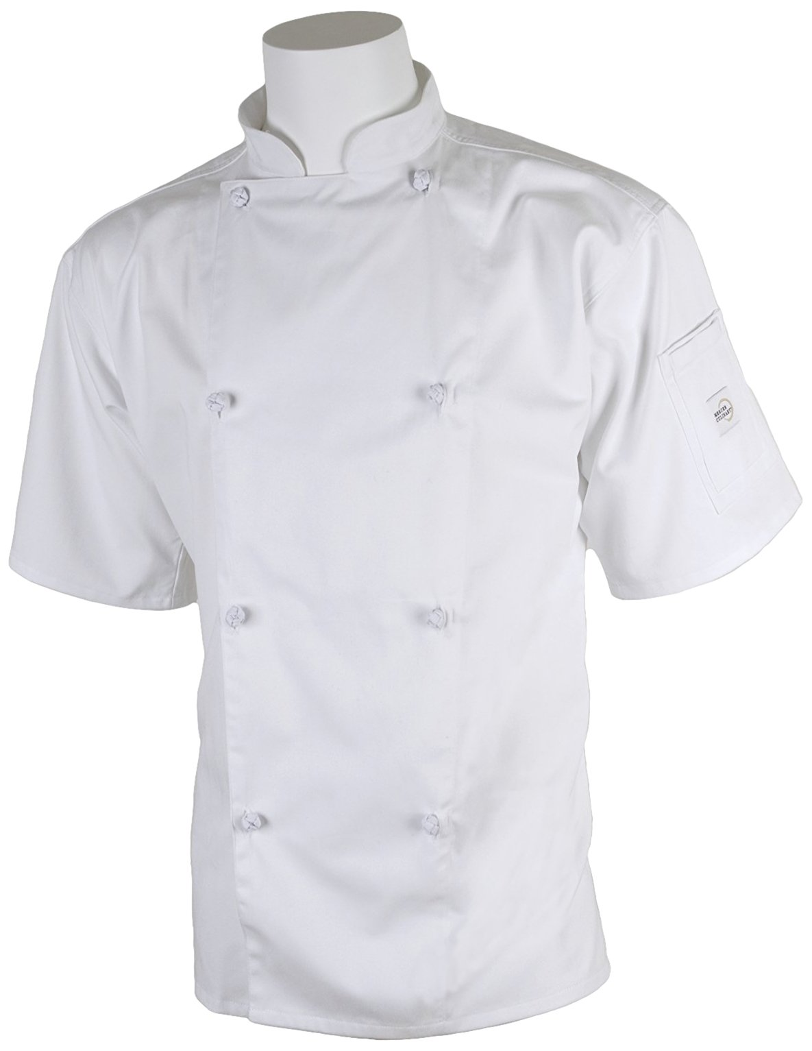 Mercer Culinary M61022WHXS Genesis Men's Short Sleeve Chef Jacket with Cloth Knot Buttons, X-Small, White
