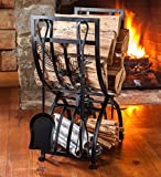 Pine Cone Fireplace Log Rack with Tools - 21.5 L x 12.75 W x 27.25 H