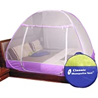 Classic Mosquito Net Foldable King Size&Queen Size (Purple Double Bed with Saviours