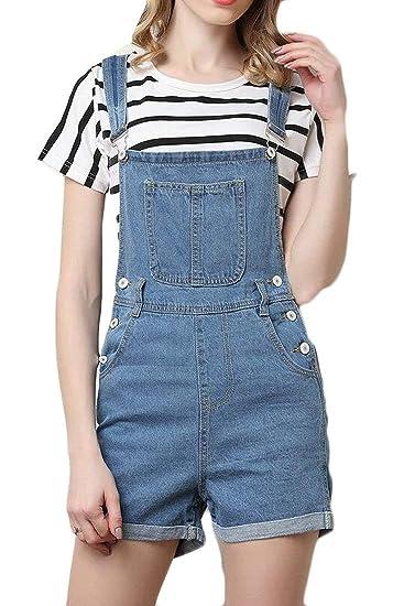 a595df186e72 Amazon.com: Joe Wenko Women's Bib Jean Denim Stylish Jumpsuit Shorts Slim  Fit Overalls: Clothing