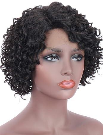 Brazilian Human Hair Lace Front Wigs For Black Women Short Curly Wigs 130/% ##