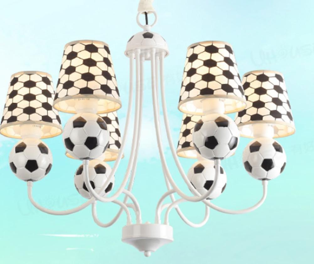 DMMSS Soccer Children'S Room Chandelier Children Boy Room Bedroom Lamp Creative Personality Led Eye Protection Lighting