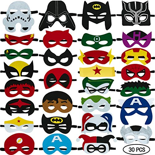 Easy Cartoon Characters For Halloween (30pcs Superhero Masks for Kids Halloween Costumes,Felt Mask Superheroes Birthday Christmas Party Favor Cosplay Toy for Boys and)