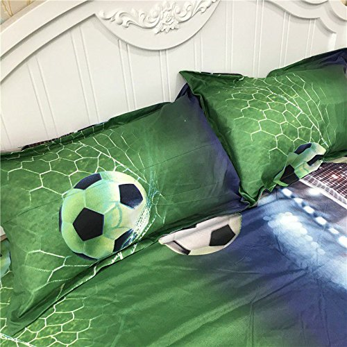 WOVELOT Juegos de Sabanas de Cama de Patron de Futbol 3D Funda nordica de Edredon en una Hoja de la Bolsa Juego de Colcha para Colcha Funda de Almohada Tamano Queen Doble