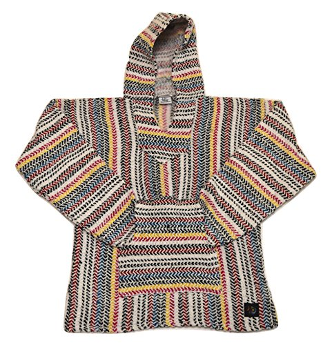Fiesta Ziesta Poncho - Hand-woven, Authentic and Eco Friendly Mexican Baja Hoodie with Pocket, Sunset - - Lopez Sun