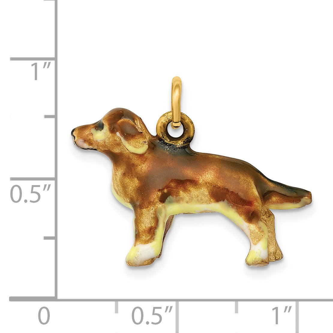 14K Enameled Small Golden Retriever Dog Charm by DiamondJewelryNY (Image #4)