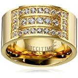 Men's 18k Gold Plated Stainless Steel Layered Simulated Diamond Ring, Size 12