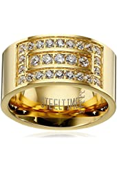 Men's 18k Gold Plated Stainless Steel Layered Simulated Diamond Ring