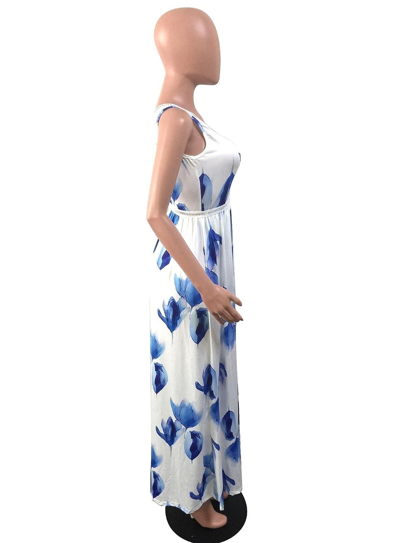 cbbd5858c46 Amazon.com  Romper Split Maxi Dresses Short jumpsuit Long dress White Blue L   Clothing