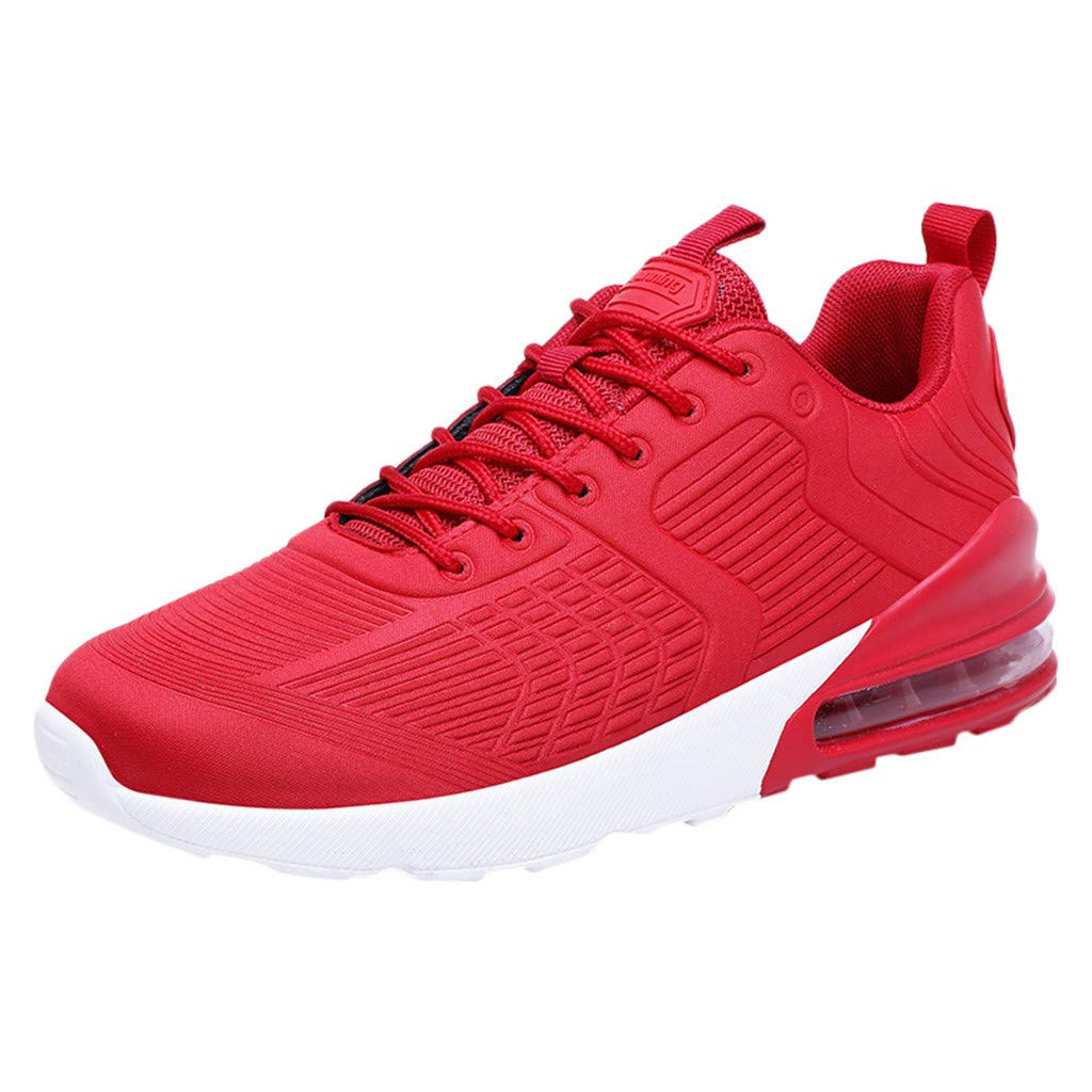 Caopixx Sneakers for Men Knit Breathable Casual Lightweight Athletic Tennis Walking Running Shoes Red
