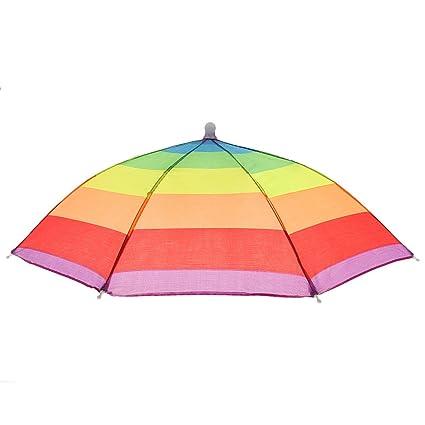 Magideal Fishing Hiking Golf Beach Foldable Headwear Parasol Umbrella Hat Watermelon