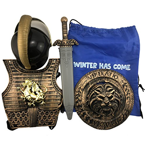 Knight Suits for Kids Ancient Roman Armor Suit Spartan Samurai Suit Knight Crusador Full Suit of Cosplay Costume (Spartan -
