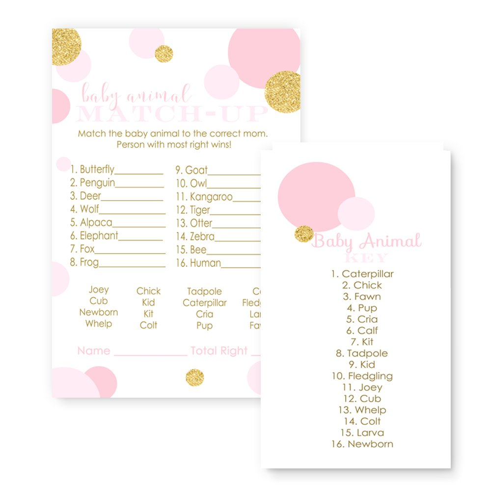 Pink and Gold Baby Shower Game Animal Match (25 Pack)