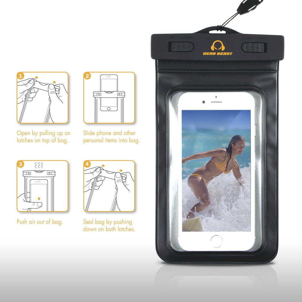 Amazon.com: 2 Pack Gear Beast Heavy Duty Universal Cell Phone Dry Bag IPX8 Certified Waterproof Phone Case Armband Pouch for iPhone X 8 Plus 8 7 Plus 7 6s ...