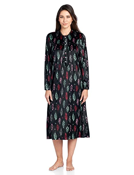 i-Smalls Ladies Long Sleeve 3 Button Modern Pattern Nightshirt