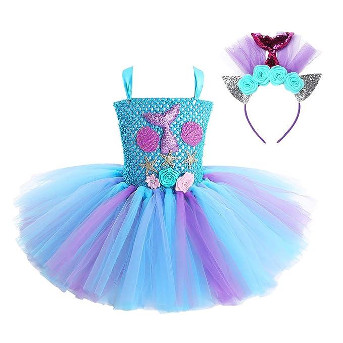 Freebily Disfraz Sirena Niña para Halloween Carnaval con Diadema ...