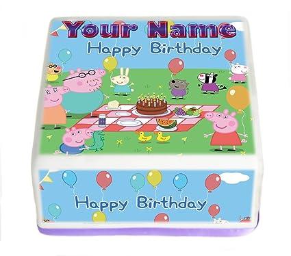 Peppa Pig feliz cumpleaños personalizada 7,5 pulgadas Pre corte cuadrado decoración para tarta para
