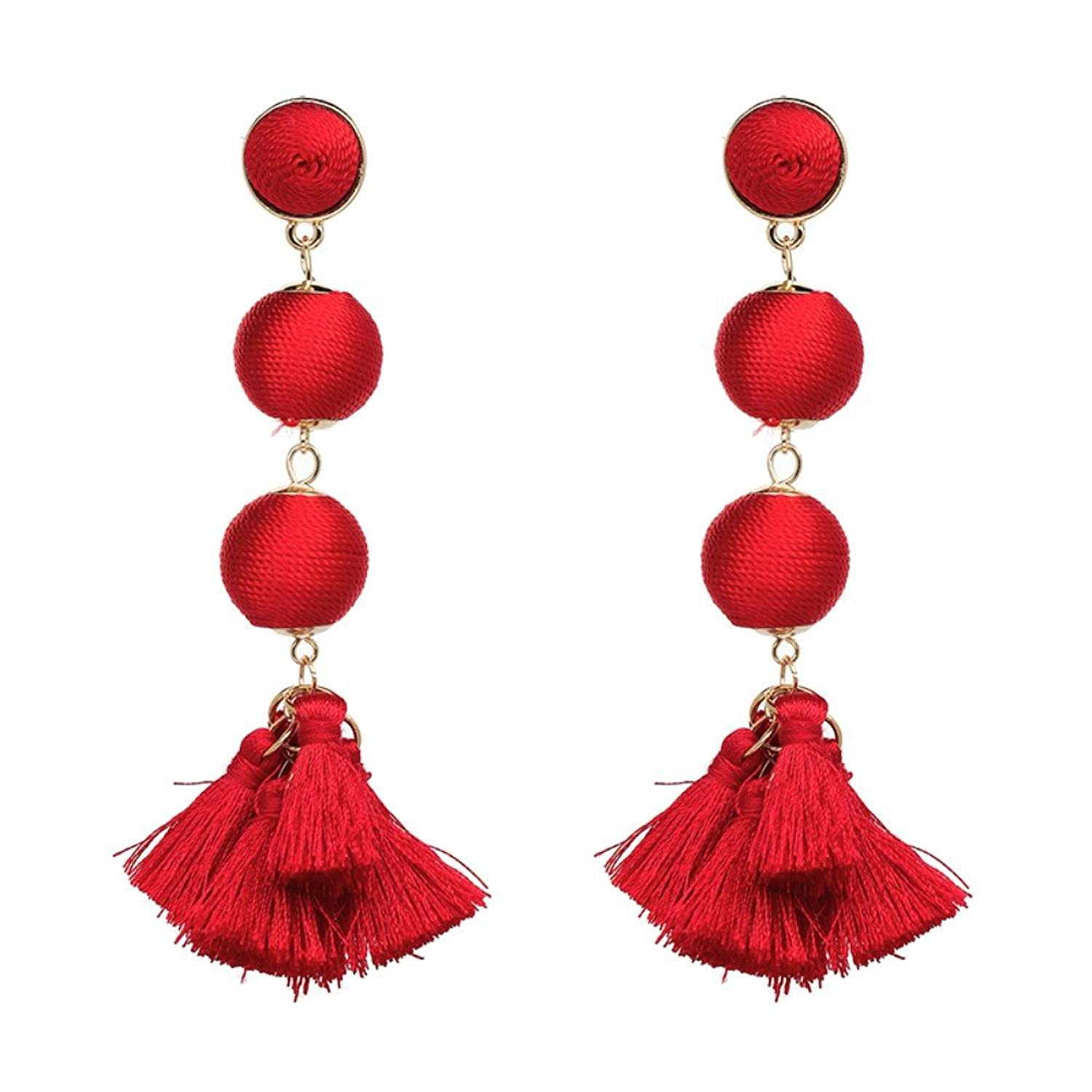 """Paris Nights"" Threaded Ball Earrings - Red"
