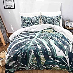 "Palm Tree Bedding Green Leaf Duvet Cover Set Green Tropical Leaf Printed Design Dark Green Tropical Bedding Set King (104""x90'') One Duvet Cover Two Pillowcases (Green Plam Tree, King)"