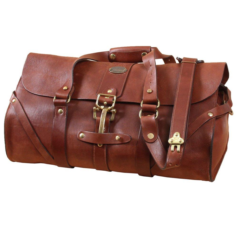 レザーグリップブラウン旅行バッグCarry On Luggage Weekender Duffle USA Made No 1 B00IKWG97S